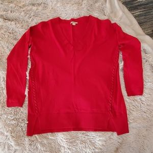 Beautiful red Lucky brand sweater with side detail